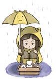 Flicka som skyddar en ask av övergav katter från regn Arkivfoto