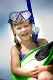 flicka som snorkeling Arkivbilder