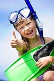 flicka som snorkeling Royaltyfri Foto