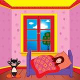 Flicka som sover i hennes sovrum Arkivfoton