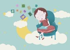 Flicka som sover i himlen Royaltyfri Bild