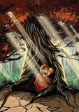 Flicka som sover i trädet Stock Illustrationer