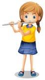 Flicka som spelar flöjten bara Royaltyfria Bilder