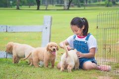 Flicka som spelar med den lilla golden retrieverhunden i medeltal royaltyfria foton