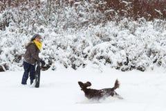 Flicka som spelar med hennes hund i snön fotografering för bildbyråer