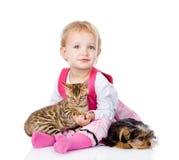 Flicka som spelar med husdjur - hund och katt se kameran isolerat royaltyfri fotografi