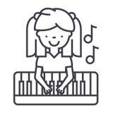 Flicka som spelar på pianovektorlinjen symbol, tecken, illustration på bakgrund, redigerbara slaglängder vektor illustrationer