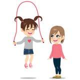 Flicka som spelar repet med vännen stock illustrationer