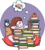 Flicka som studerar på natten som sover med böcker - vektorillustration Arkivfoto