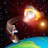 Flicka som surfar universumet Arkivbild