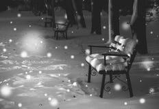 Flicka som tänker om gåvor för jul Den öde vintern parkerar Royaltyfri Bild