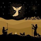 Flicka som tänker om gåvor för jul Natt Betlehem En ängel verkade till herdarna att berätta om födelsen av frälsaren Jesus in i v royaltyfri illustrationer