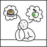 Flicka som tänker om hamburgaren och äpplet Royaltyfri Fotografi
