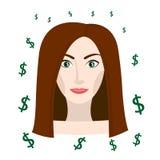 Flicka som tänker om pengar Vektor Illustrationer