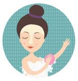 Flicka som tar en dusch Royaltyfria Foton
