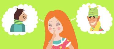 Flicka som tvivlar mellan två förälskelser royaltyfri illustrationer