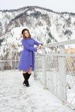 Flicka som utomhus poserar i vintern Fotografering för Bildbyråer