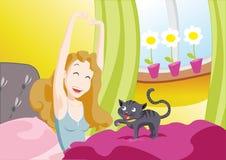 flicka som vaknar upp Royaltyfri Fotografi