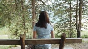 Flicka som vilar på en bänk vid sjön med en sikt av bergen och Forest Girl Admires The Lake och bergen Fotografering för Bildbyråer