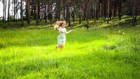 Flicka som vilar på naturen Den härliga flickan går på fältet lager videofilmer