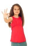 Flicka som visar den ok teckenhanden Royaltyfri Bild