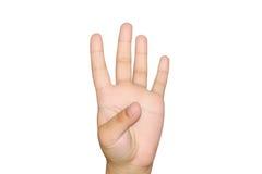 Flicka som visar fyra fingrar Royaltyfri Foto