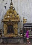 Flicka, Stupa och duvor Royaltyfria Bilder