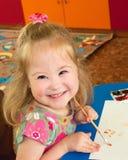 Flicka syndrom, Down Syndrome Fotografering för Bildbyråer