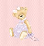 Flicka Teddy Bear Arkivbild