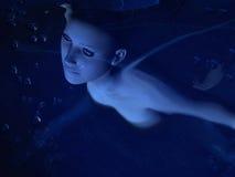 flicka under vatten Fotografering för Bildbyråer
