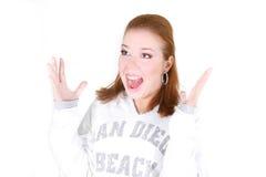 flicka över förvånad white Arkivfoto