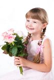 flicka vita isolerade lilla rosa ro Arkivbild
