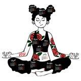 Flicka - yoga Lotus poserar Kalendermånader för objektbana för bakgrund clipping isolerad white Royaltyfri Bild