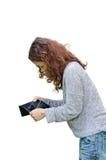 Flickaanseende mot vit bakgrund med en tom plånbok Royaltyfria Foton