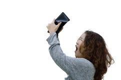 Flickaanseende mot vit bakgrund med en tom plånbok Royaltyfria Bilder