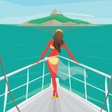 Flickaanseendet på en yacht och beundrar ön royaltyfri illustrationer