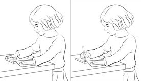 flickaavläsningswriting royaltyfri illustrationer