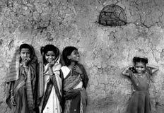 Flickabarn i Indien Arkivbild