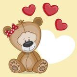 Flickabjörn med hjärtor Arkivbild