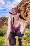 Flickacowboy royaltyfri fotografi