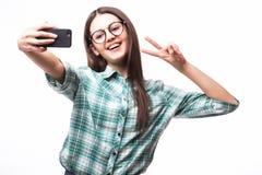 Flickadanandeselfie fotografering för bildbyråer