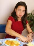 flickadeltagaretabell arkivbilder