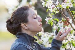 Flickadräkt som sniffar blomningen av äppleträdet Arkivbilder