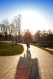 Flickadrev på cykeln Arkivfoton