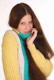 Flickaförkylning och obekvämt Hon har en tandvärk Royaltyfria Foton