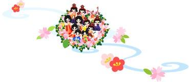 Flickafestival Nagashibina (den sväva dockan) stock illustrationer