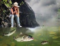 Flickafiskemorgon med lotten av stora fiskar Arkivbild