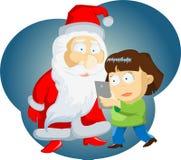 Flickaflickan gör ett självporträtt med Santa Claus Royaltyfria Bilder