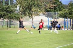 Flickafotbollsmatch Arkivbilder