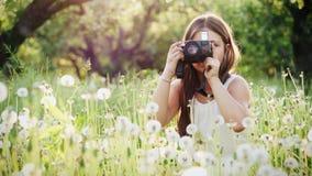 Flickafotografen av tolv år tar bilder av naturen arkivfilmer